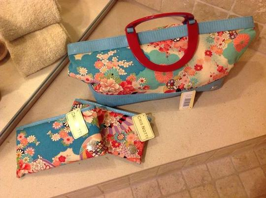 Cris Notti Pale Blue Flowers Beach Bag