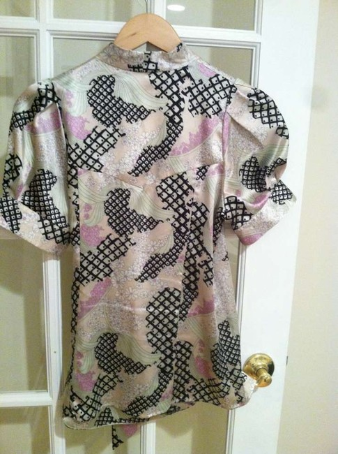 BCBGMAXAZRIA Bcbg Max Azria Wrap Satin Wrap Asian Floral Summer Spring Dressy Casual Top multi