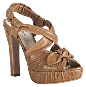 Prada Evening Leather REDUCED price! Caramel tan Platforms