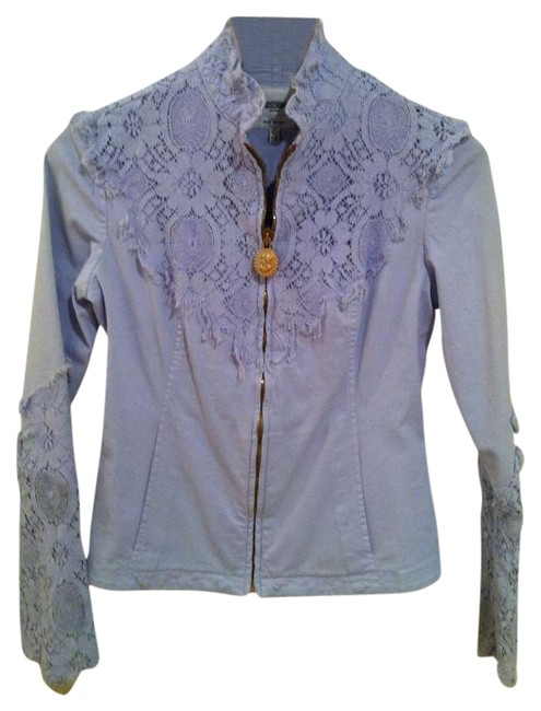 Moschino Jeans Blazer Lace Frayed Summer Spring Blue Unique Jacket