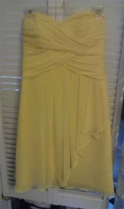 David's Bridal Sunbeam Yellow Chiffon F14847 Feminine Bridesmaid/Mob Dress Size 4 (S)