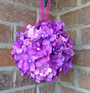 Purple Hydrangea Kissing Ball Centerpiece