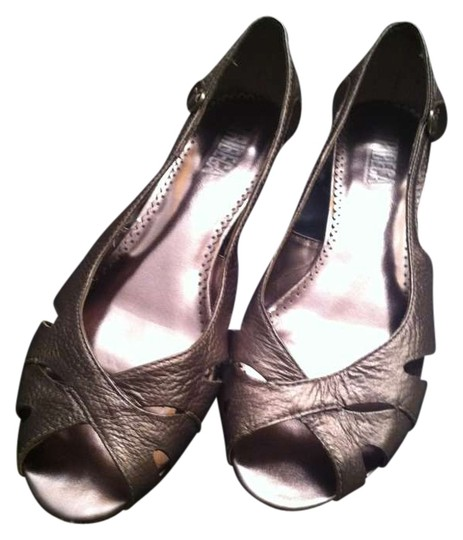 Other Cut-out Peep Toe Pewter Wedges