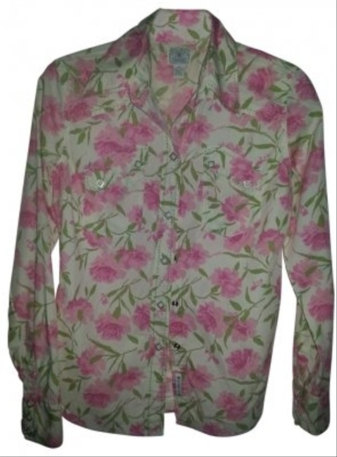 Lucky Brand Pink and Green Floral Western Cut Long Sleeve Shirt Button-down Top Size 8 (M) Lucky Brand Pink and Green Floral Western Cut Long Sleeve Shirt Button-down Top Size 8 (M) Image 1