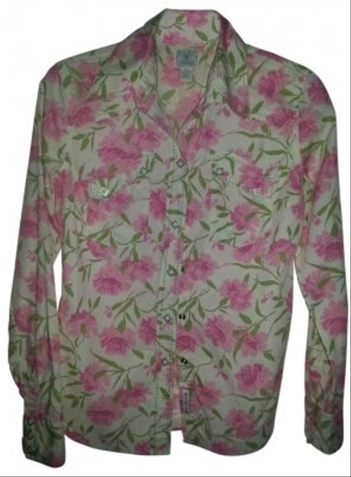 Lucky brand pink and green floral western cut long sleeve for Lucky brand button down shirts