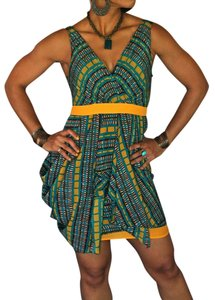 Minuet Petite short dress yellow green print Ethnic Fun Asymmetric Summer Different Unique on Tradesy