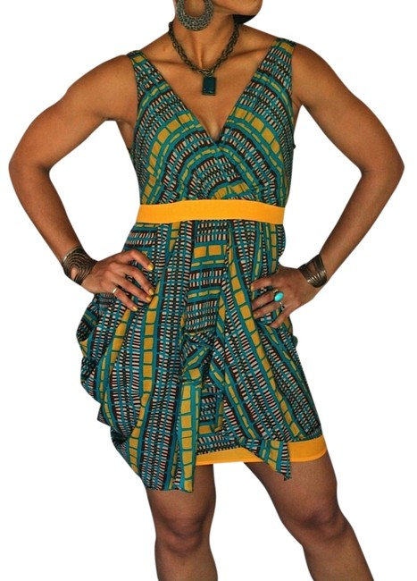 Item - Yellow Green Print Above Knee Short Casual Dress Size 8 (M)
