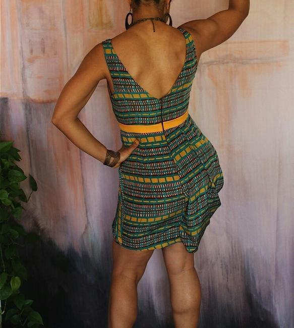 Minuet Petite short dress yellow green print Ethnic Fun Asymmetric Summer Spring Different Unique on Tradesy