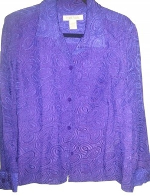 Preload https://item1.tradesy.com/images/purple-jacquared-boocade-topjacket-button-down-top-size-12-l-30610-0-0.jpg?width=400&height=650