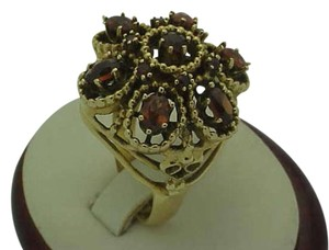 Art Deco 14k yellow gold huge filigree ring with 4cttw garnets,size 8, 11.8gr, 1930s