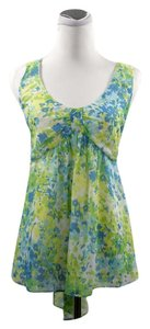 John Paul Richard Chiffon Tie Back Sleeveless Top Blue Green Floral