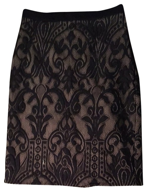 Eva Franco Lace Victorian Lace Feminine Office Skirt Black And Nude
