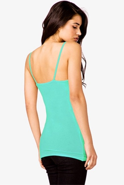Forever 21 Cotton Spaghetti Strap Camisole Top Turquoise Emerald Green