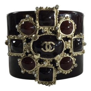 Chanel Gripoix Embellished Thick Bangle Bracelet