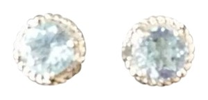 Macy's SS Genuine Gemstone Blue Topaz & Diamond Earrings