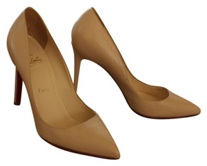 Christian Louboutin Tan Nude Leather Stiletto Pointed Toe Pigalle Beige Pumps
