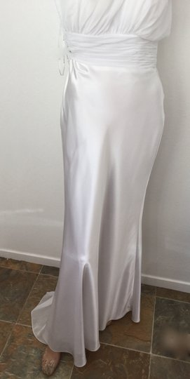 Bari Jay White Chiffon and Satin Bridesmaid Poly Small Train * One Shoulder Or Bride's Formal Wedding Dress Size 8 (M)