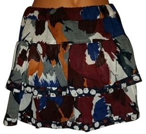 Hollister Multi Color Print Spring Mini Skirt printed