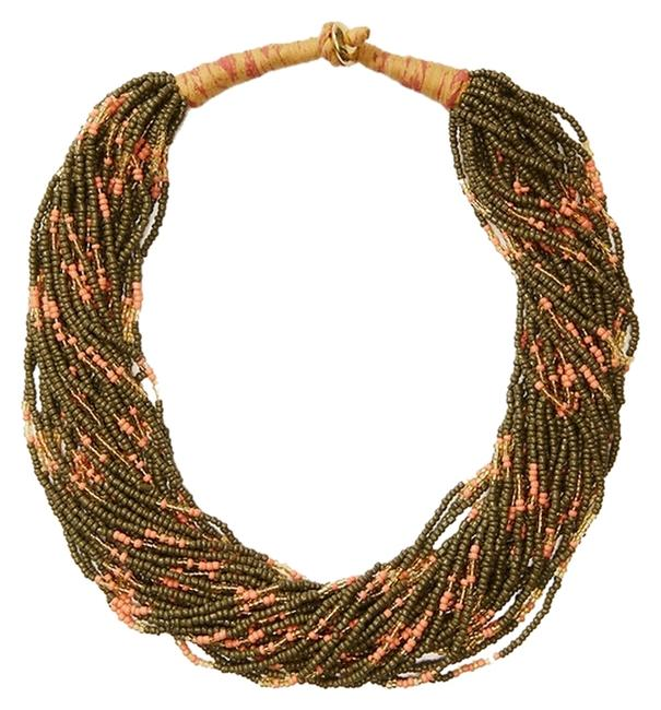 Item - Olive Branch And Coral Seed Bead Necklace