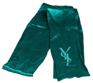 Saint Laurent Yves Saint Laurent Green Silk Scarf