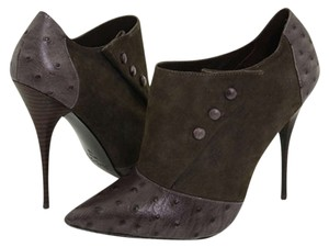 Elizabeth and James Bootie Ostrich Leather Suede Gray Boots