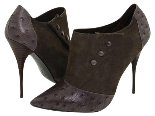 Elizabeth and James Ostrich Leather Suede Stilleto Gray Boots