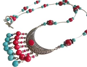 Silver red crescent moon necklace, blue necklace, red necklace, Arabic culture necklace,