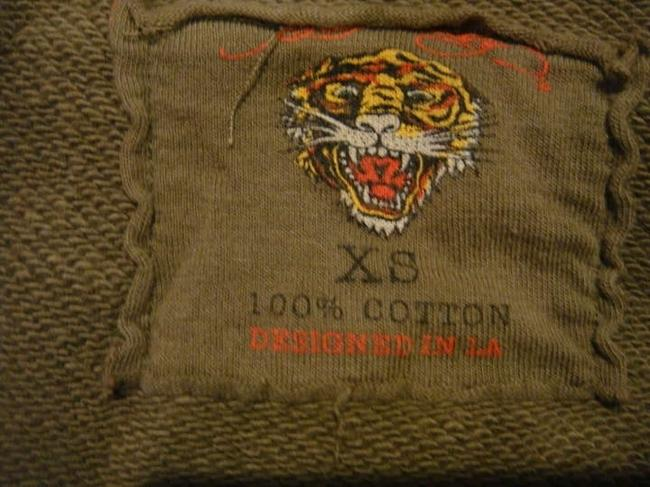 Ed Hardy Leopard Tiger Leather Straps Zip Accent Embroidered Sweatshirt