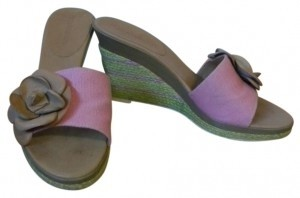 Enzo Angiolini Leather Detail pink and green Wedges