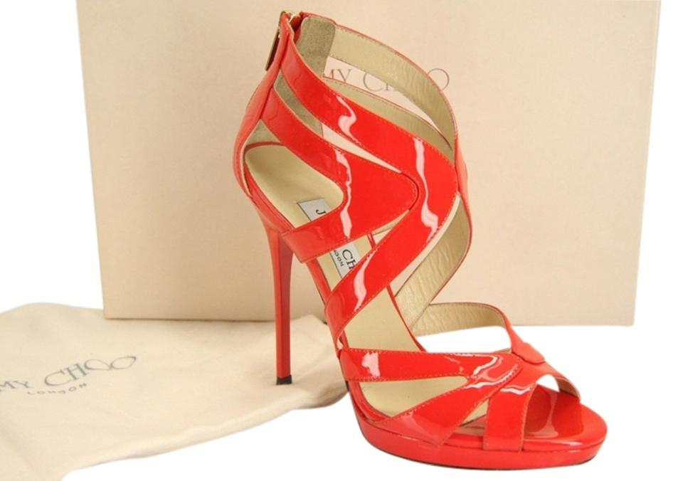 Jimmy Choo Red Flame Collar Patent Caged Platform Flame Red Pumps Sandals 62a1d5