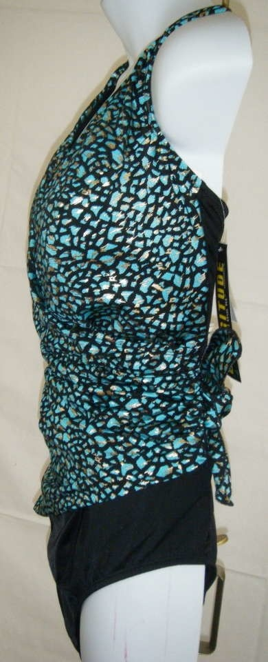 8a36e1dba6 Longitude SWIMSUIT 22W NWT LONGITUDE BLUE W GOLD HIGHLIGHT   BLACK LOWER.  12. 1 ∕ 2