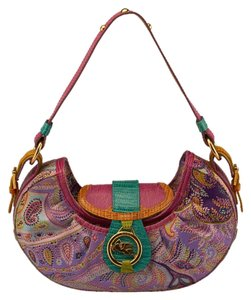 Etro Fabric Lizard Shoulder Hobo Bag
