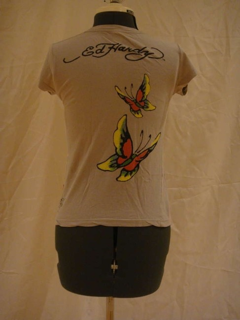 Ed Hardy Flower Heart Butterfly Felt Biker Tattoo Design Signature T Shirt Grey