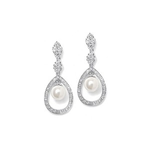 Mariell Silver Pave Cz with Caged Pearl 700e-s Earrings