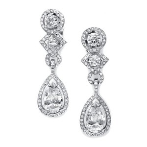 Mariell Cz Clip-on Wedding Earrings With Pear Dangle Ec037