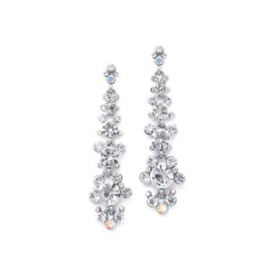 Mariell Silver Linear with Cascading Bubbles 170e-cr Earrings