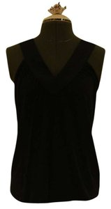 Express Satin V-neck Gathered Top Black