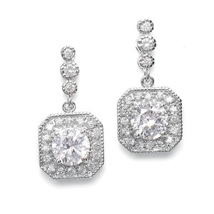 Mariell Cz Art Deco Tailored Wedding Earrings 2061e