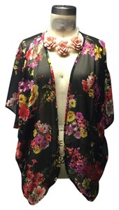 Urban Outfitters Floral Roses Sheer Duster Bohemian Short Sleeves Slouch Hippie Retro 90s Cardigan