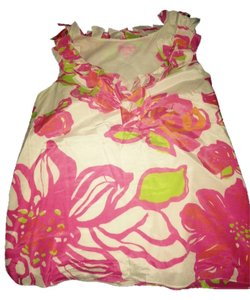 Lilly Pulitzer Pink Pink Pink Yellow Tops White Tops Sleeveless Tops Floral Casual Tunic