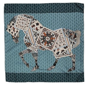 Large Square Silk Twill Scarf - 100% Silk horse and poker cards pattern Blue Green and White with Hand Rolled Hem 35