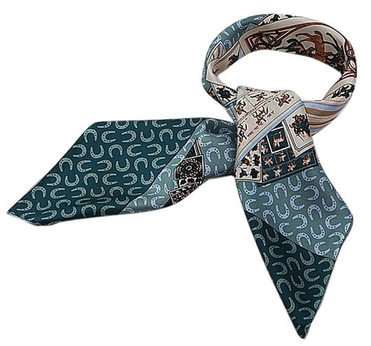 Other Large Square Silk Twill Scarf - 100% Silk horse and poker cards pattern Blue Green and White with Hand Rolled Hem 35