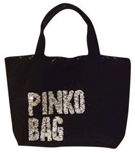 Pinko Sequin Sparkle Canvas Cotton Tote in Black; lettering is white/silver sequins