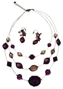 Unknown Purple and Black set of Necklace and matching Earrings