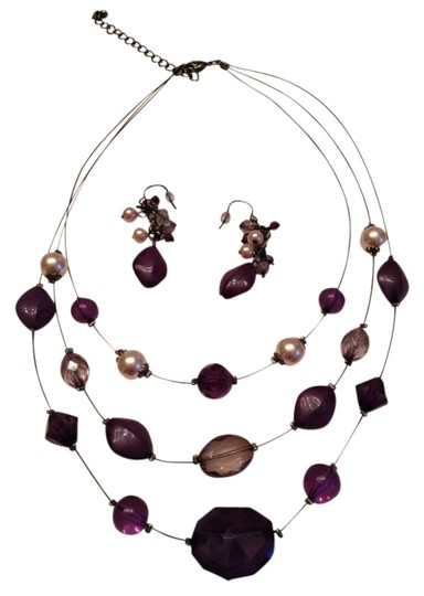 Other Purple and Black set of Necklace and matching Earrings
