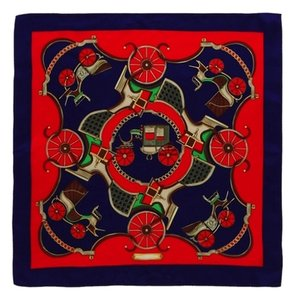 Handmade Medium Square Silk Scarf Fine 100% High Quality Painted with Hand Rolled Hem Red Coach Theme Floral Pattern 21