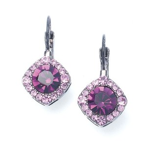 Mariell Tailored Amethyst Crystal Drop Earrings 209e-da