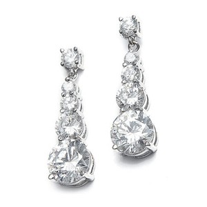 Mariell Cz Graduated Dangle Bridal Earrings 243e-cr