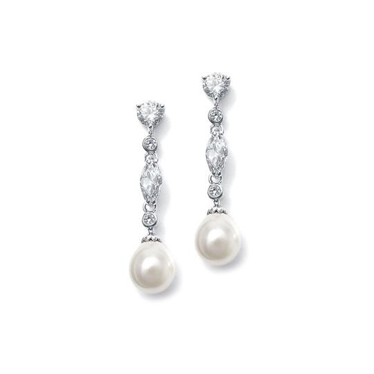 Mariell Silver Linear Cz and Pearl 3035e Earrings