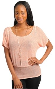 POINT Scoop Neck Fitted At The Hem T Shirt Peach